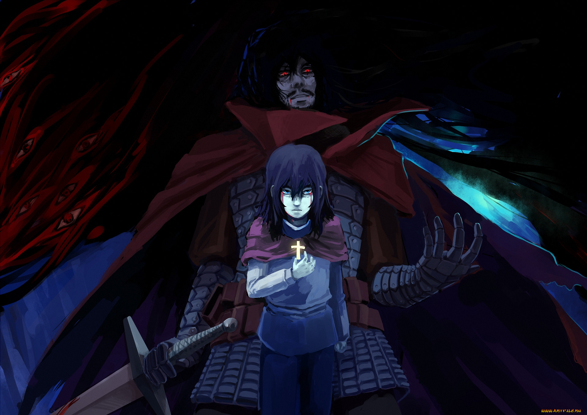 аниме, hellsing, плащ, dracula, alucard, vampire, демон, парень, мужчина, меч, крест